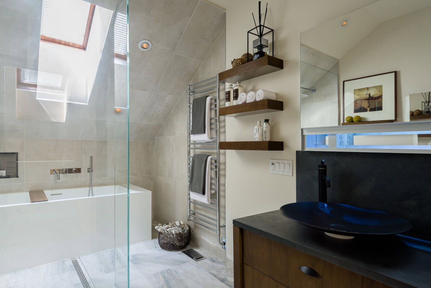 Loft bathroom full of glass surfaces and wooden racks