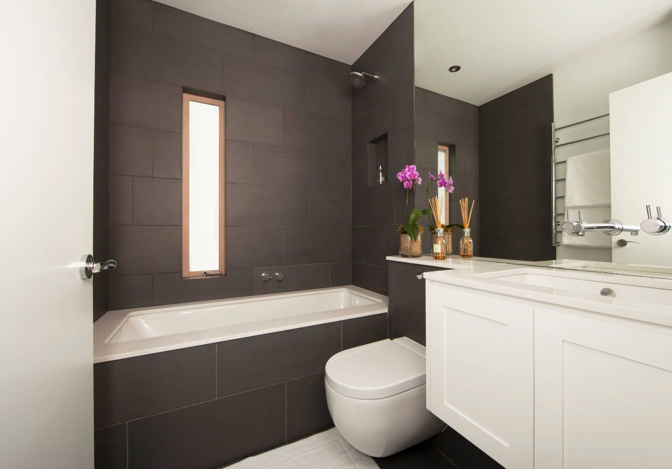 Bathroom design of dark gray palette