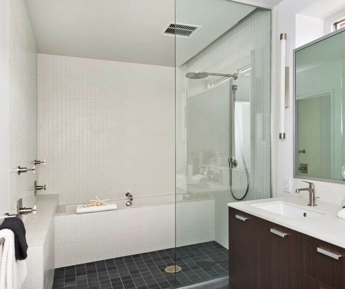 Typical modern bathroom design with small contrasting tile at the floor