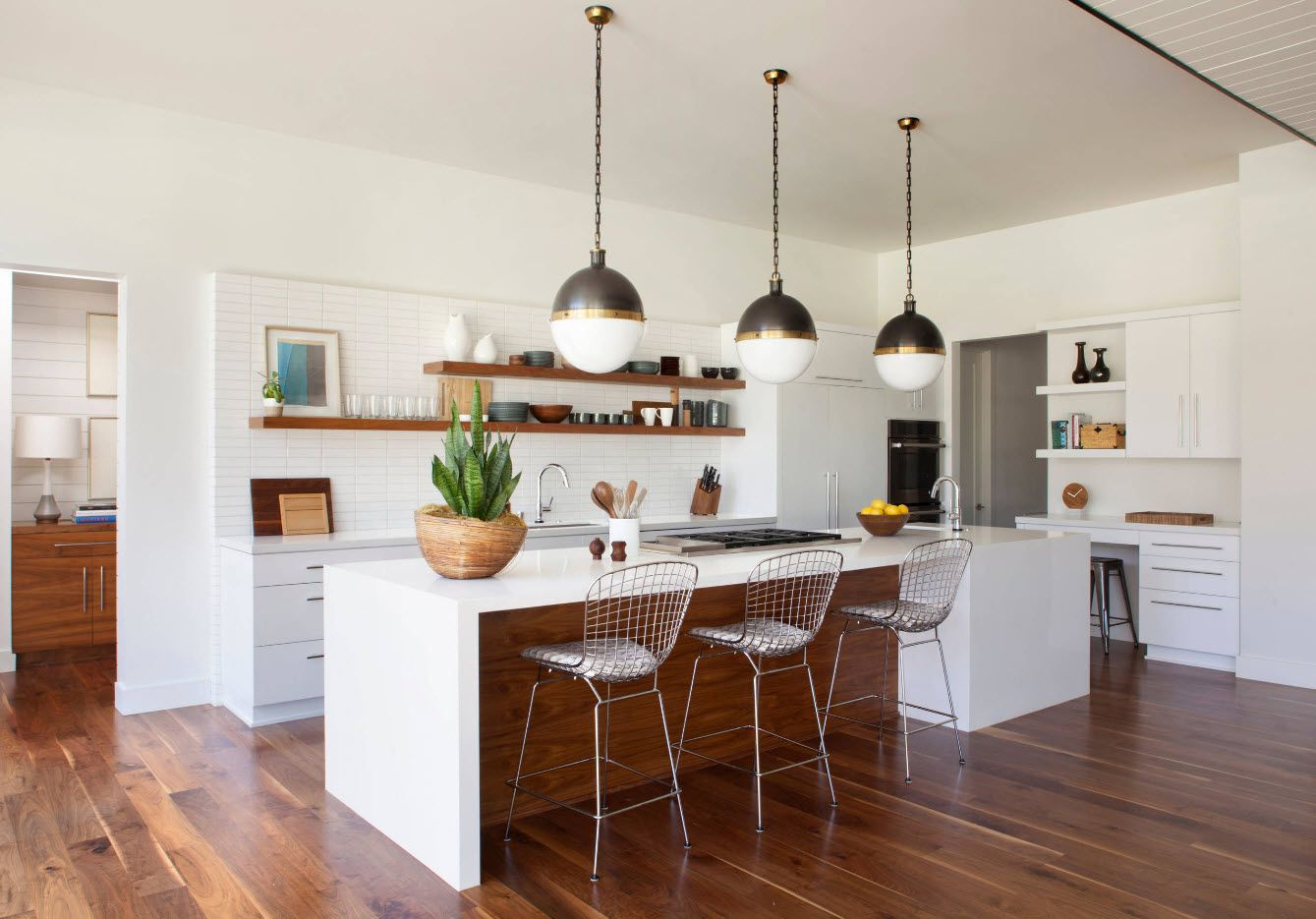 brown kitchen island with white plastic countertop