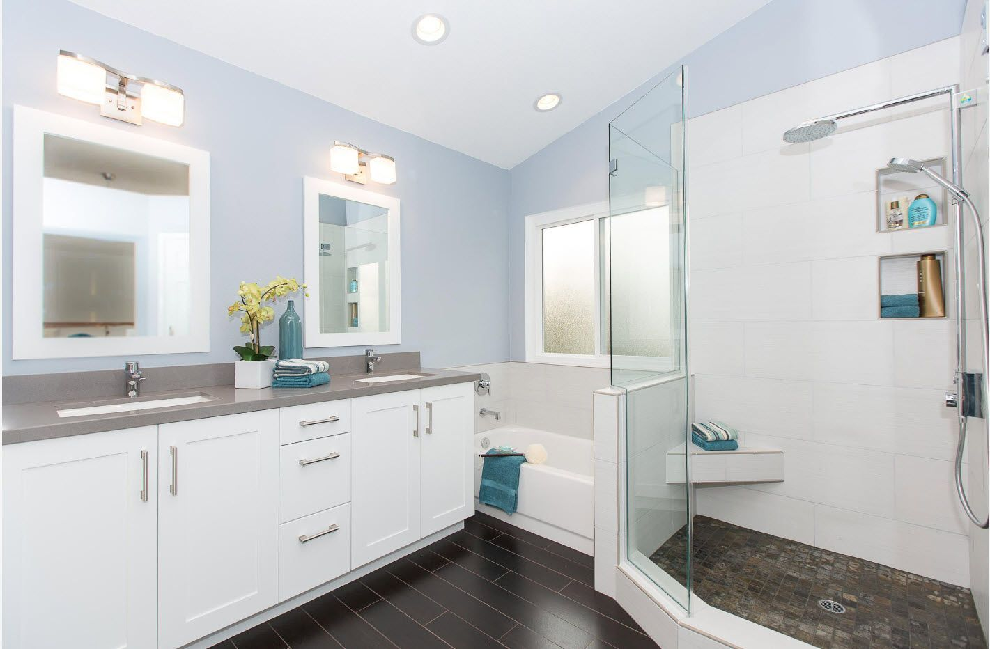 Gentle light cyan tint for bathroom finishing
