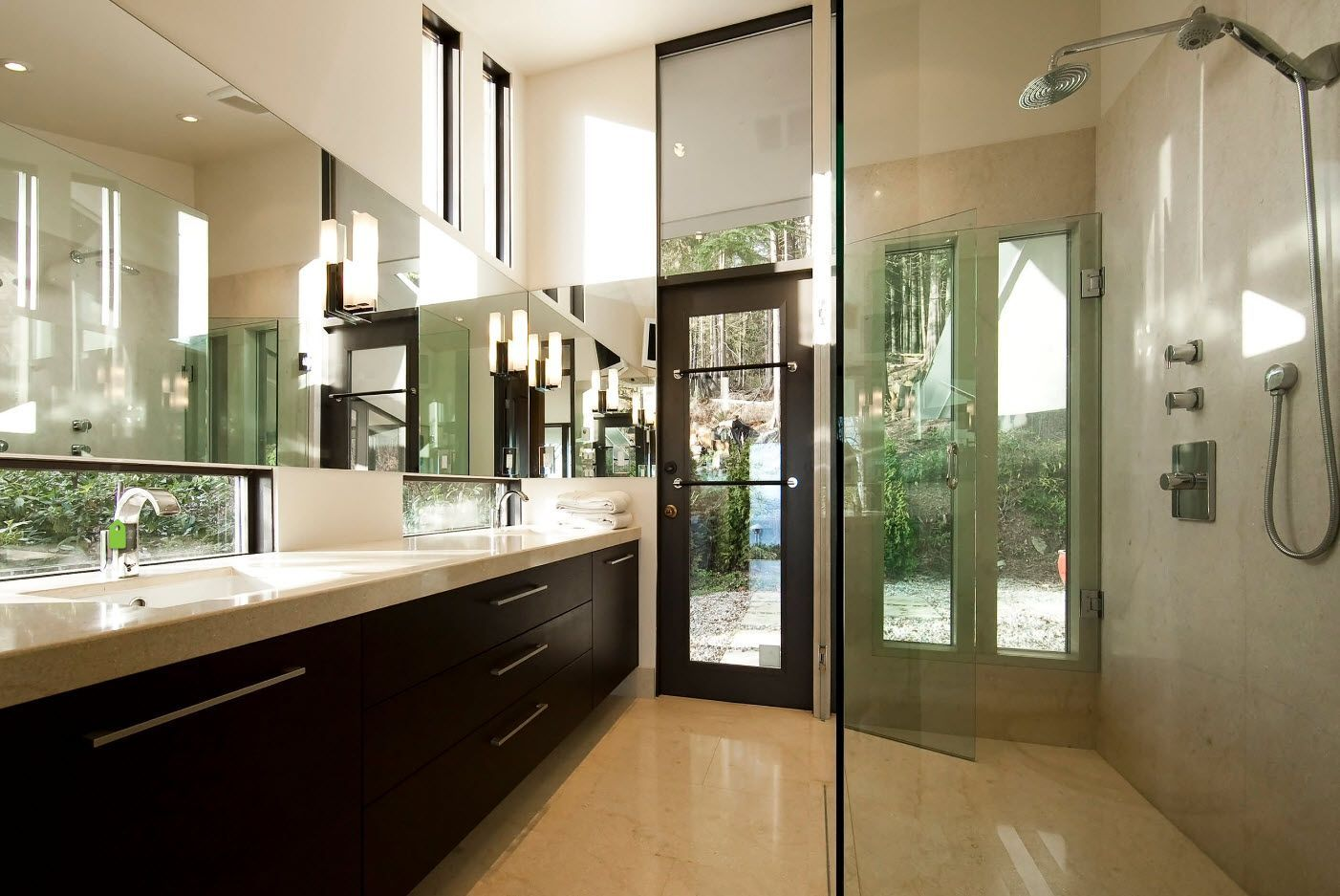 Cool combination of wenge wood and glass surfaces within top modern design project of the bathroom 2017
