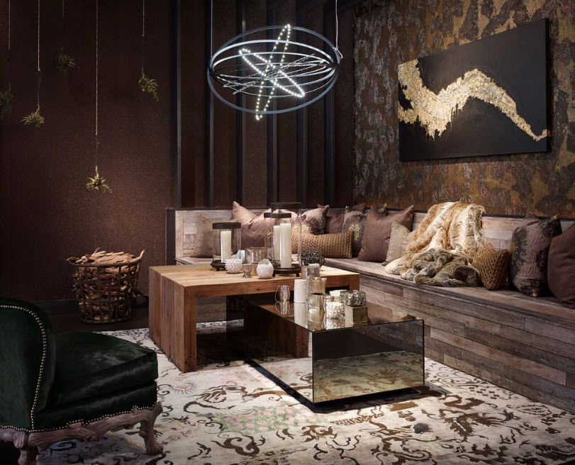 Dark luxurious interior setting of the spacious living