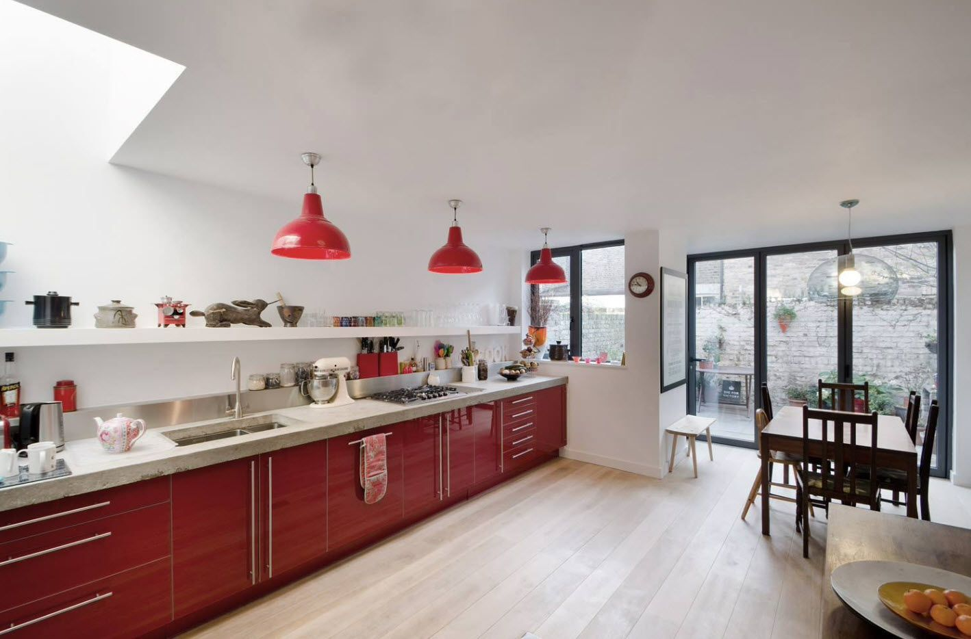 Nice Kitchen Decoration With Red Theme In The Lamp Shades And Island