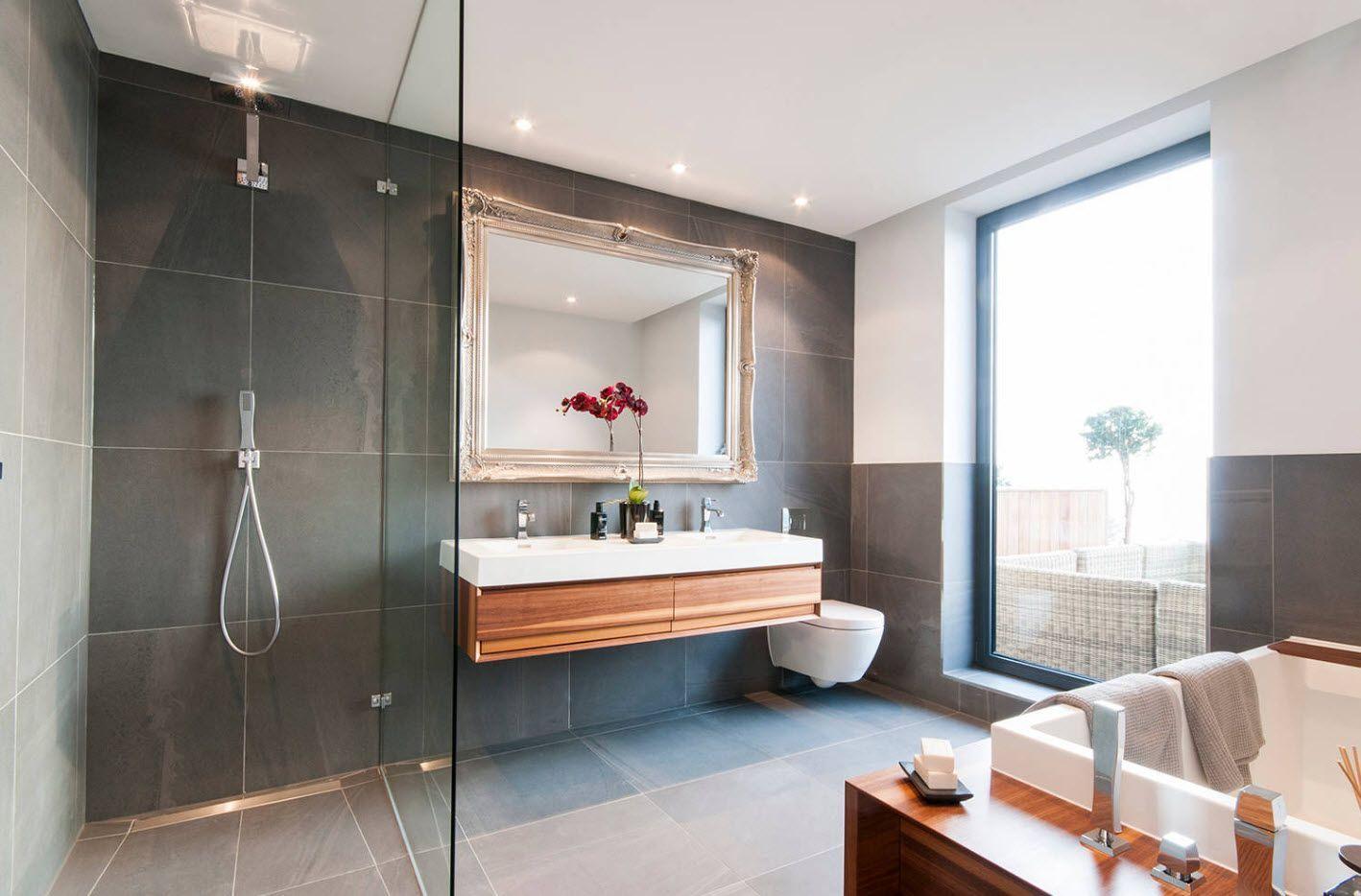 graphite gray interior design for the two zones of vertical aligned bathroom