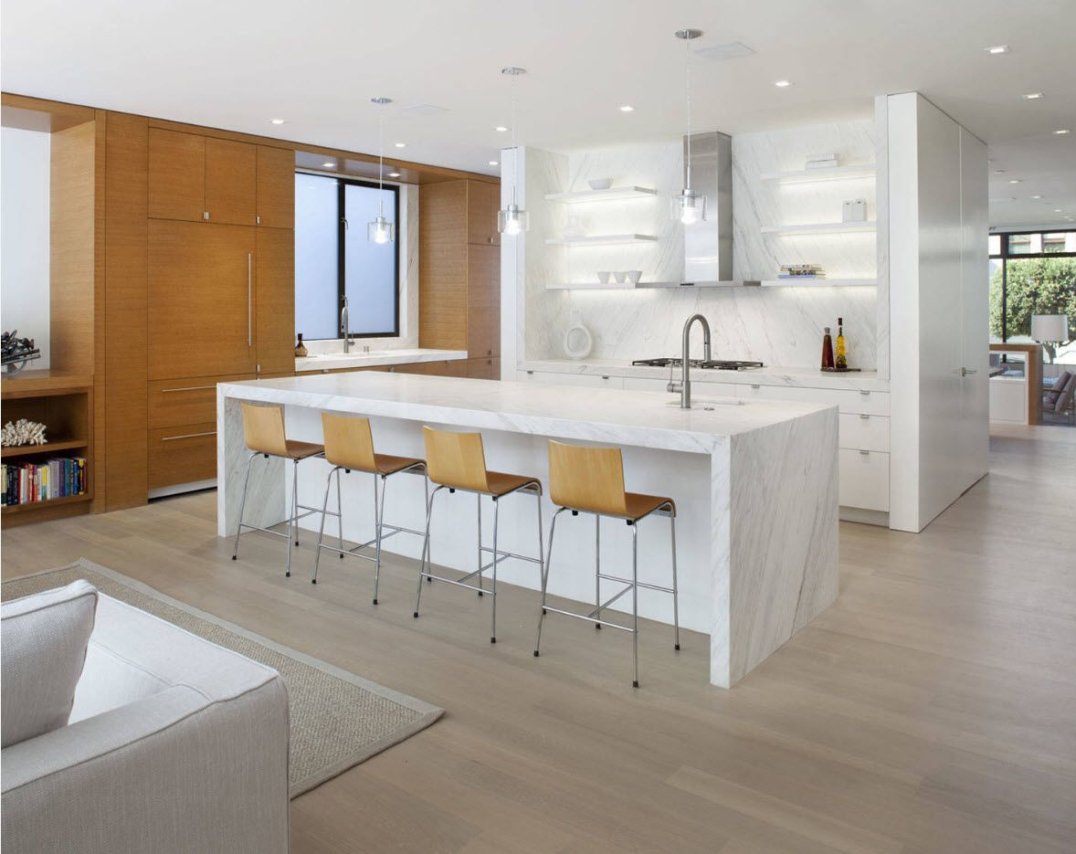 Modern white plastic glance and wooden accent wall to dilute the picture