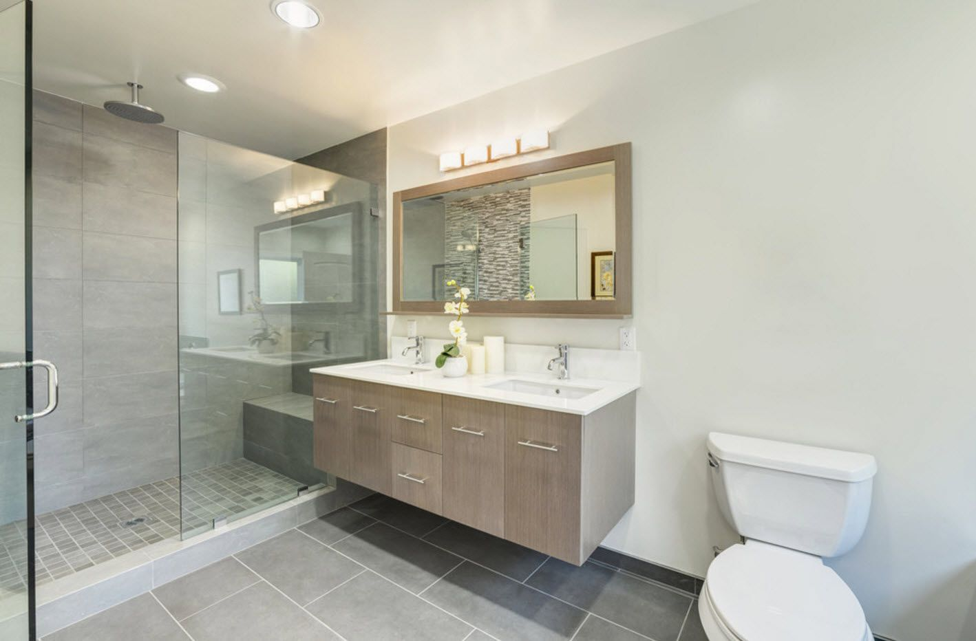 typical modern design with airy levitating bathroom vanity