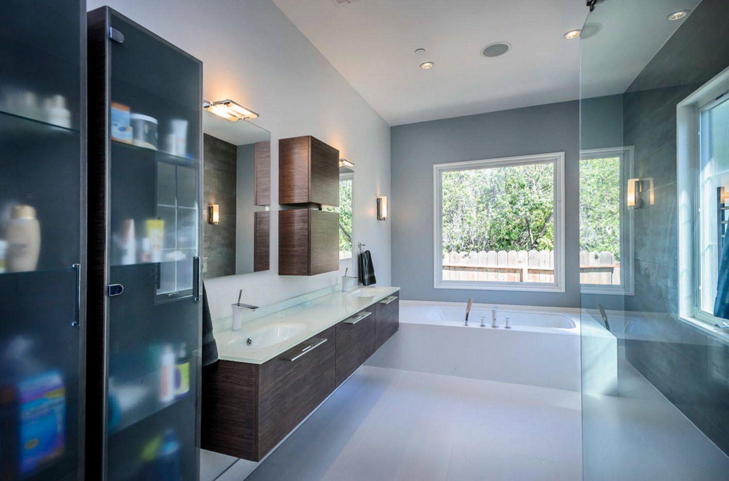 All shades of grey decoration for the modern bathroom 2017