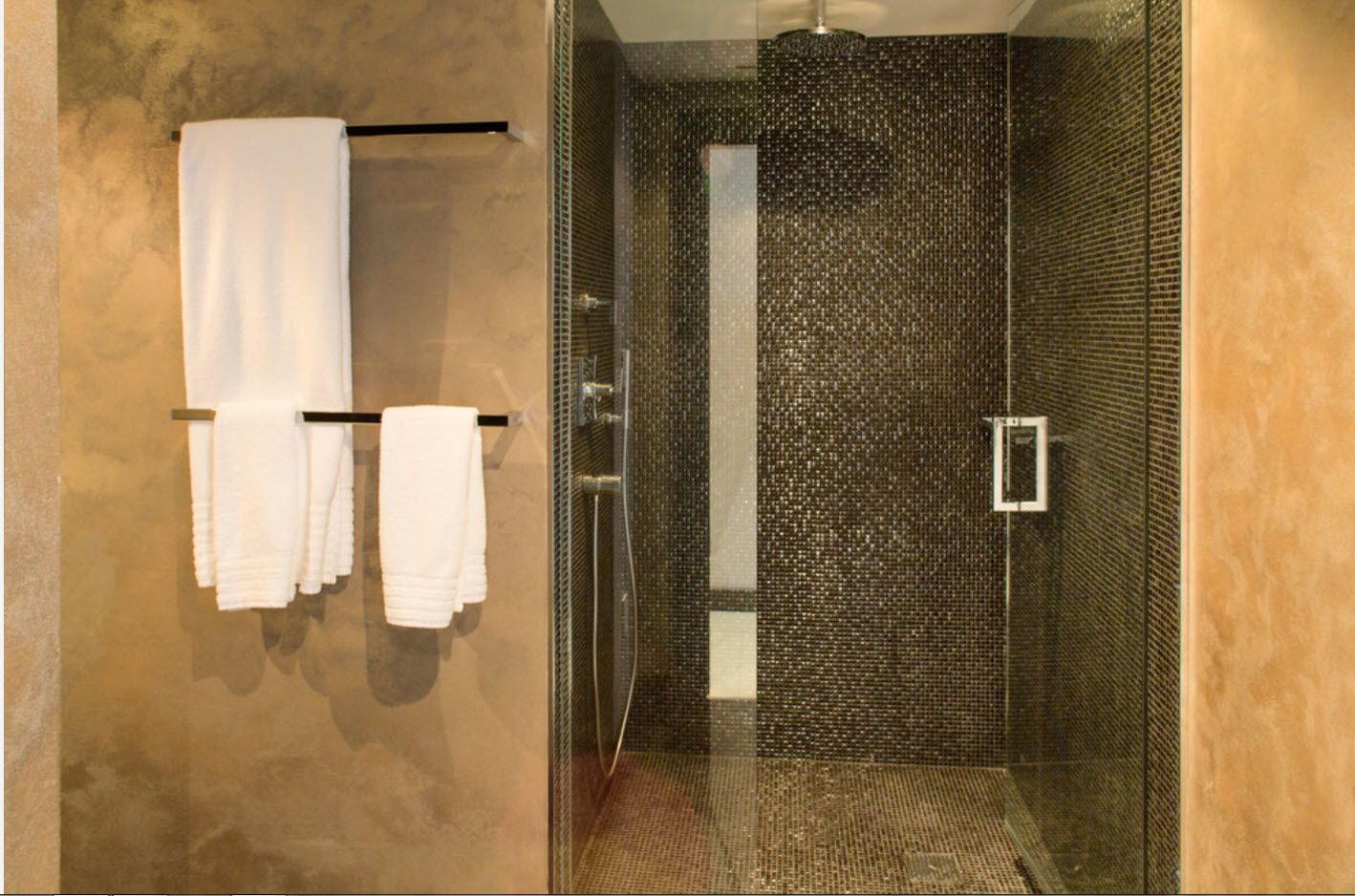 Noble African style interior of the bathroom in chocolate and wenge colors