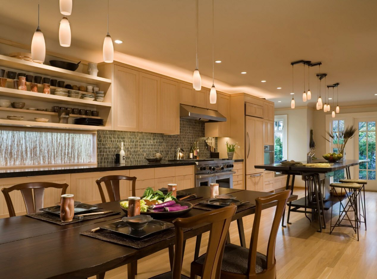 Ceramy brown kitchen finish and the wooden furniture