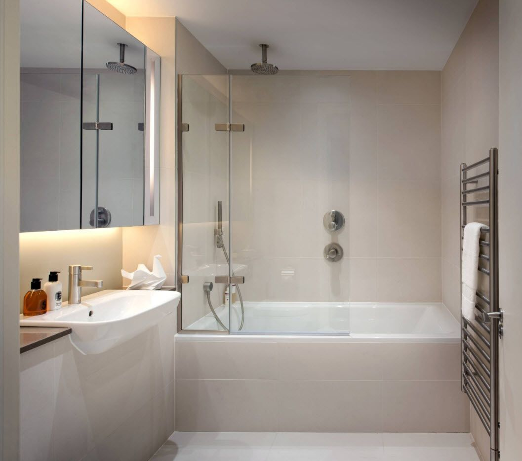 Milky theme in the calm and relaxing bathroom space with backlit mirror