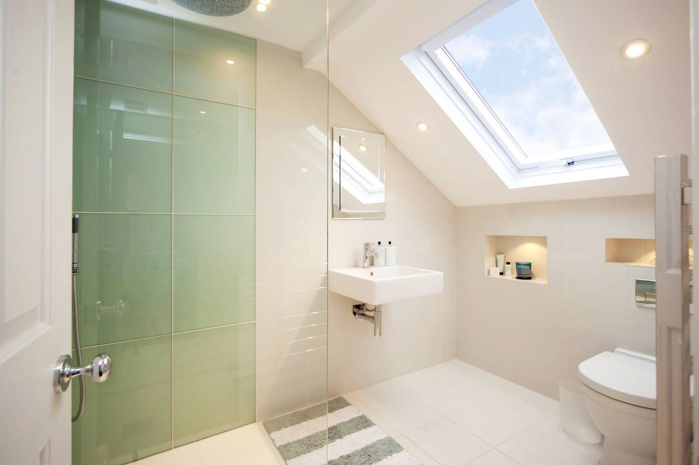 Skylight to the white bathroom interior