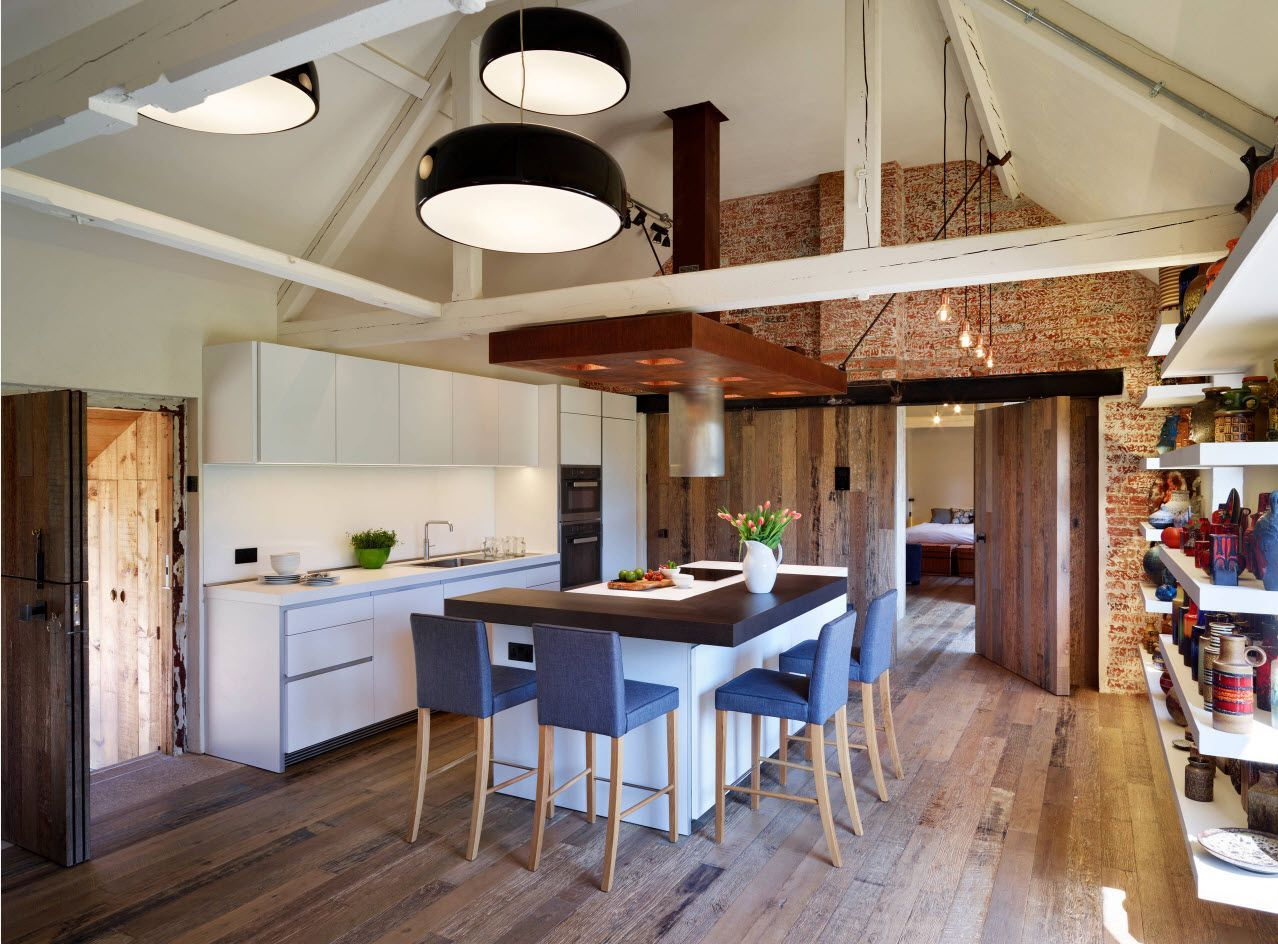 Wooden floor for the high kitchen