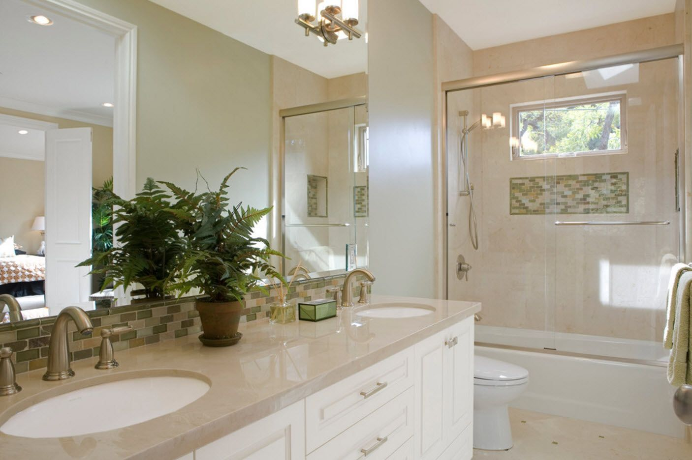 Specklessly white and spirited design of the small bathroom