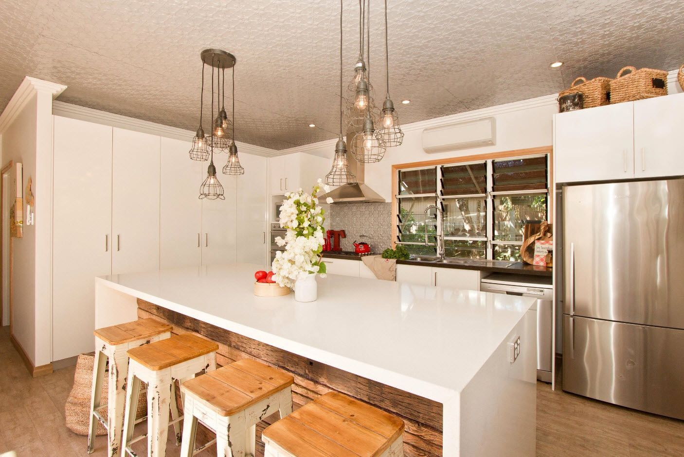 Bunch of suspended lamps for modern kitchen interior