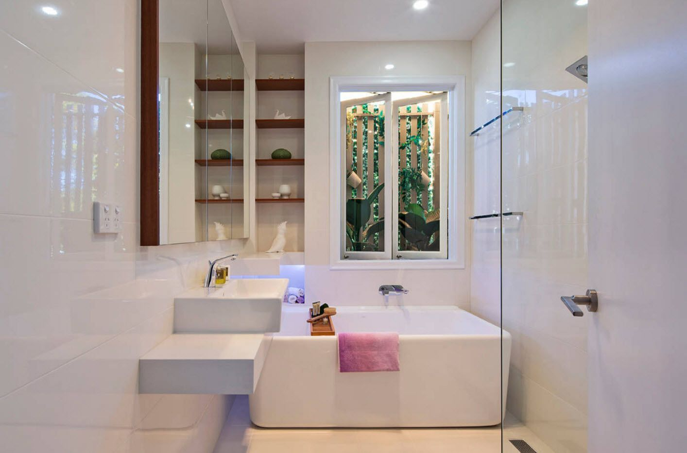 Leveled zones of the modern rounded forms of the bathroom accessories