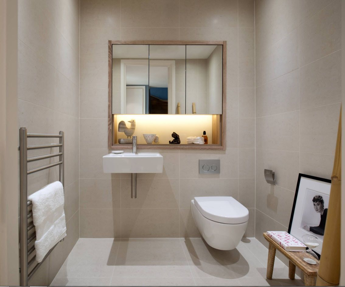 Neat gray and white interior variant for small bathroom