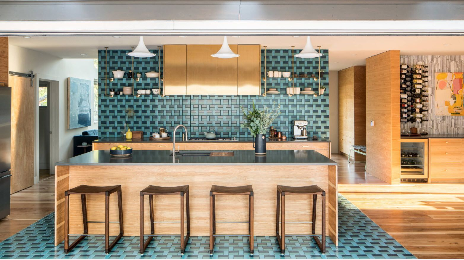 Spectacular integrity of the kitchen design by using the turquoise tiling