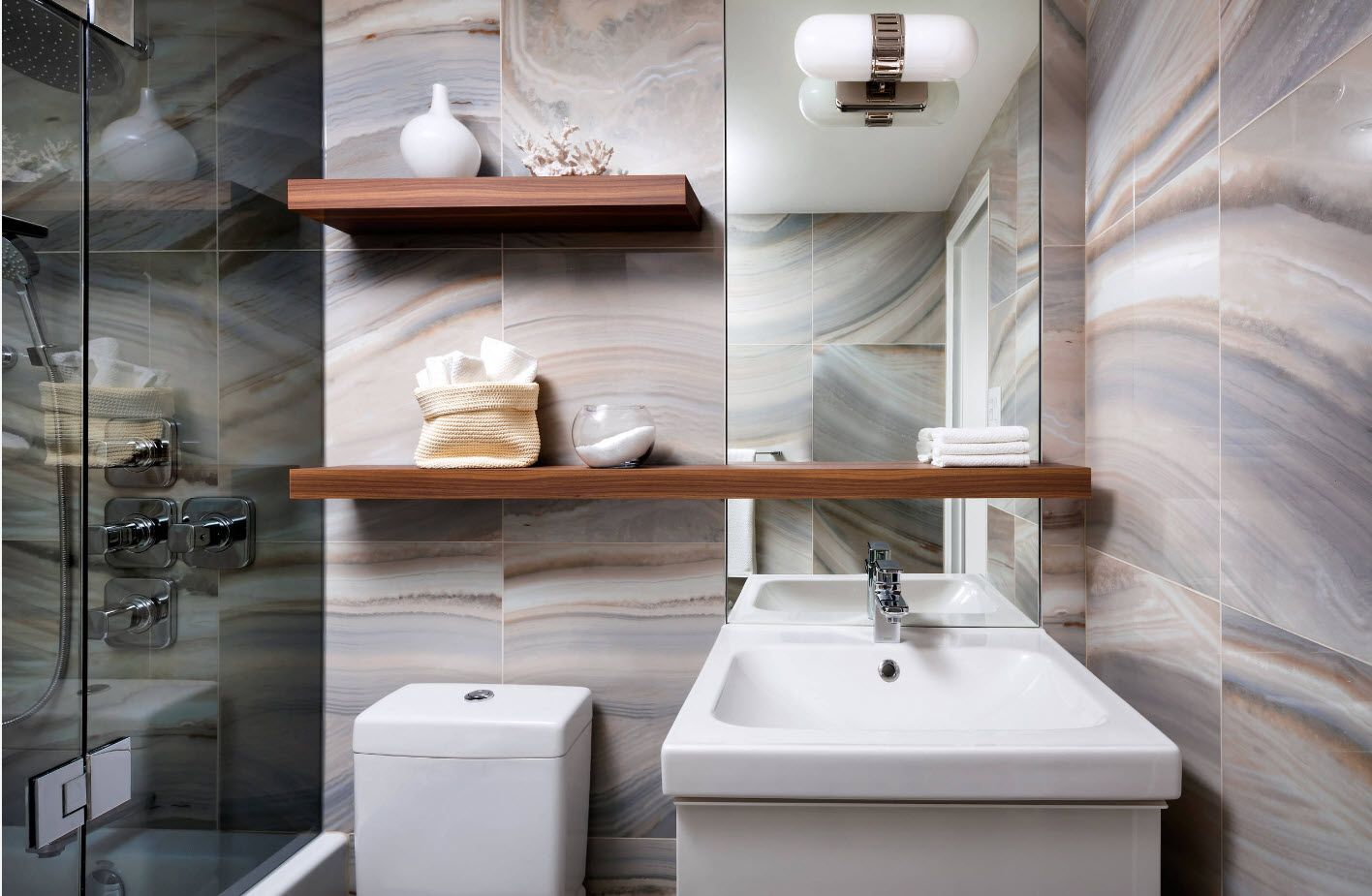 unusual artificial tile style to achieve new fashion in bathroom