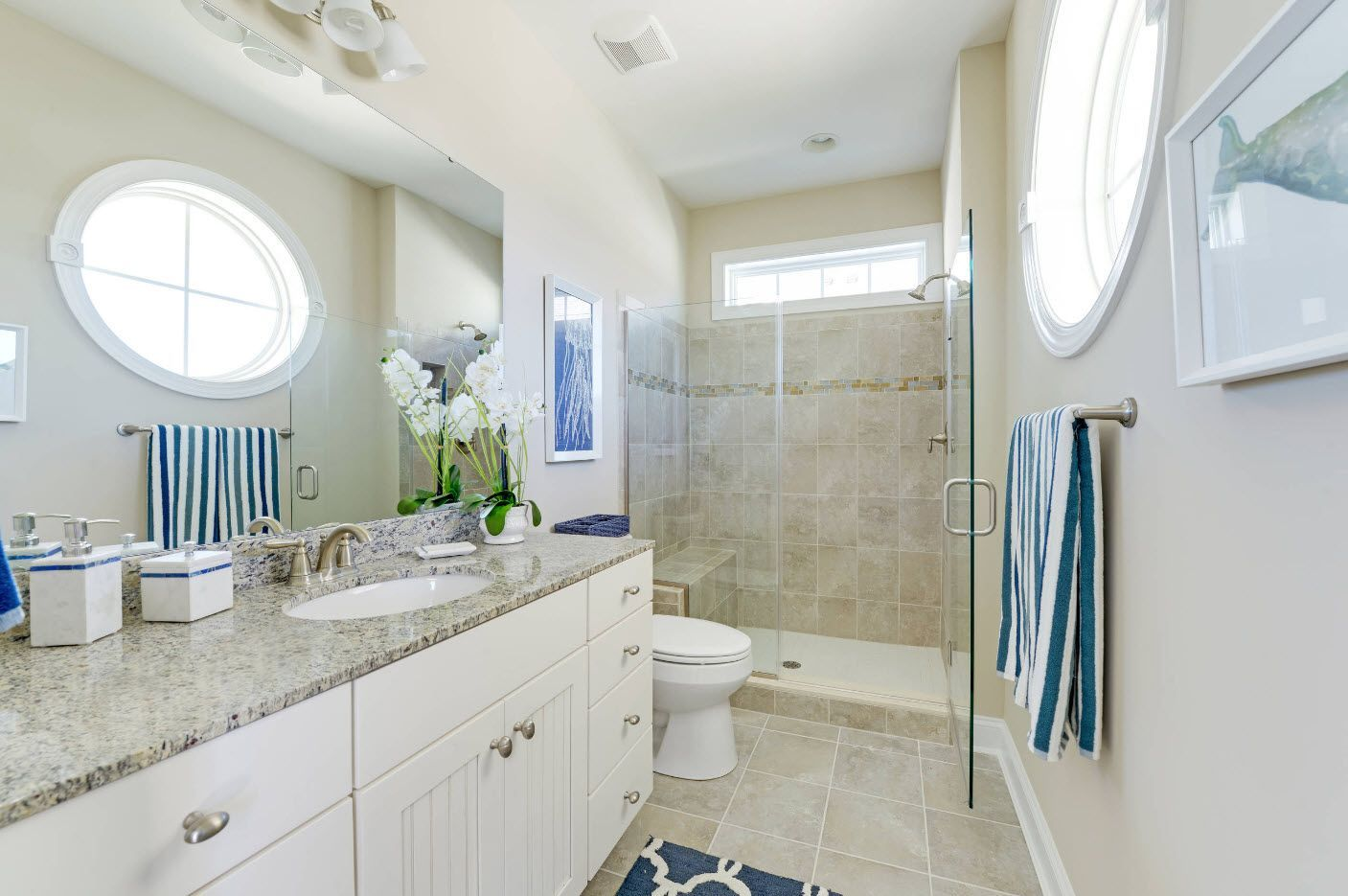Gray and white small bathroom contemporary style