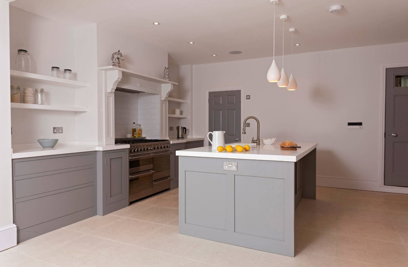 Steel gray color in the lowest middle of the kitchen