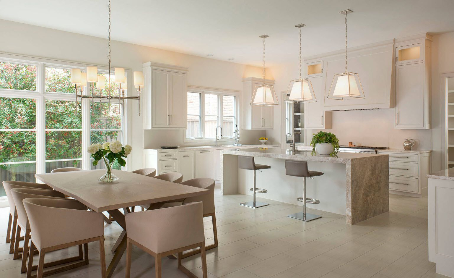 Nice design for the modern suburb house in the creamy gray and pastel color palette