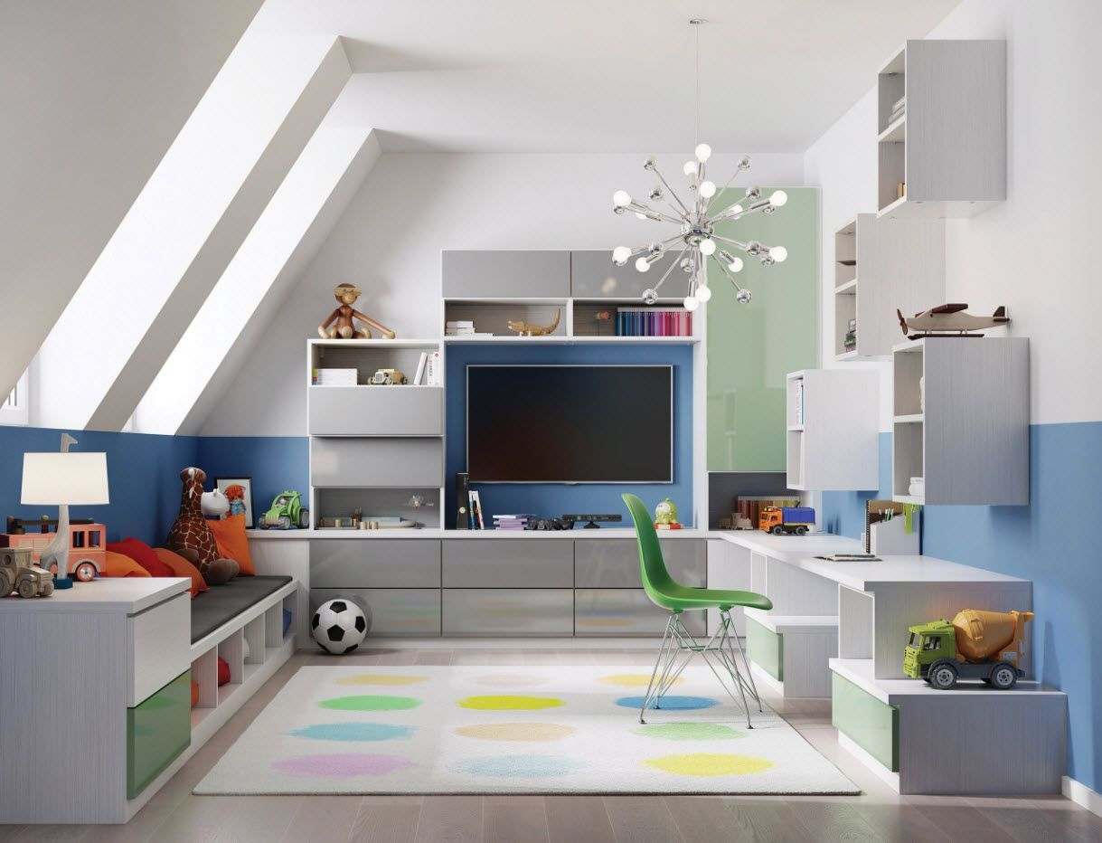 Gorgeous and successful interior decoration with theater for children