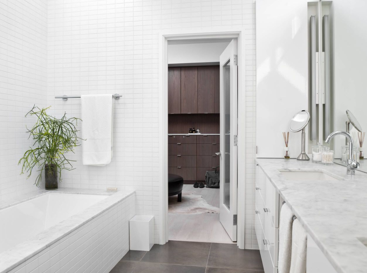 Snow white Classic style interior decoration for the bathroom