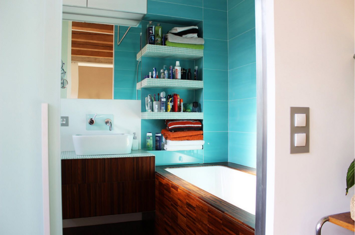 Gorgeous turquoise tile in the shower zone of the bathroom