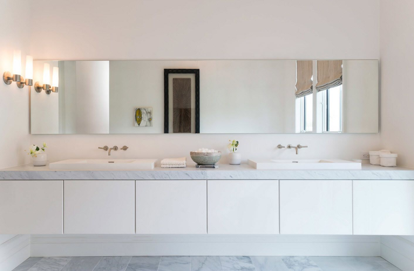 Modern plastic surfaces for vanities in the bathroom