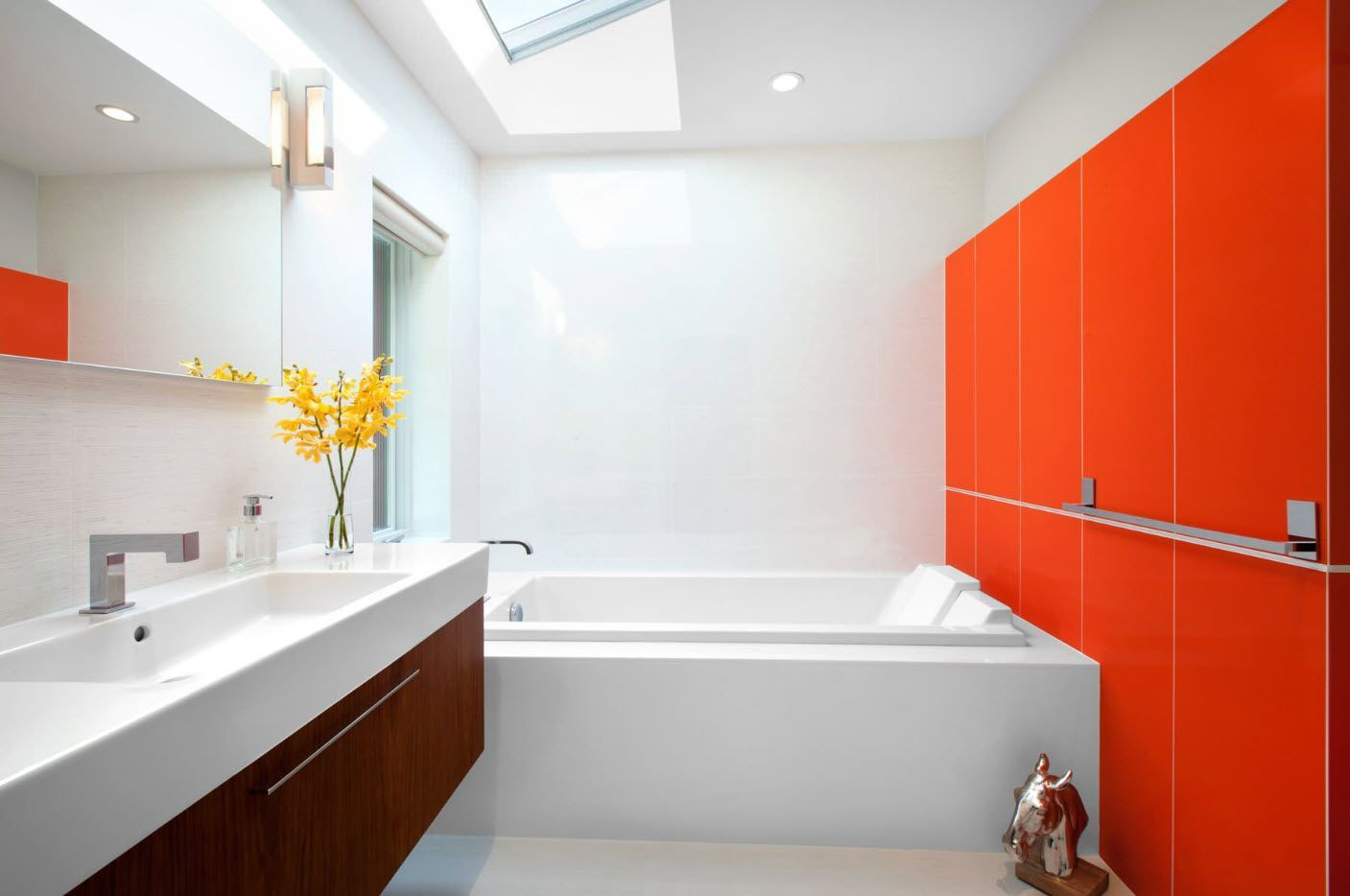 Orange tiled accent wall