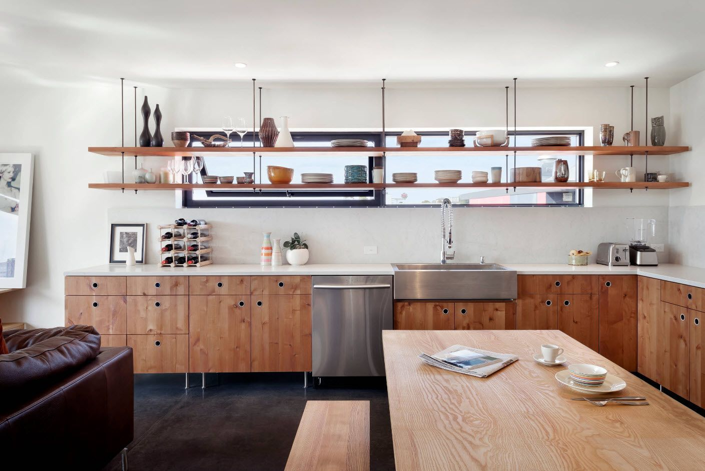 open wooden shelves of the modern rustic kitchen design