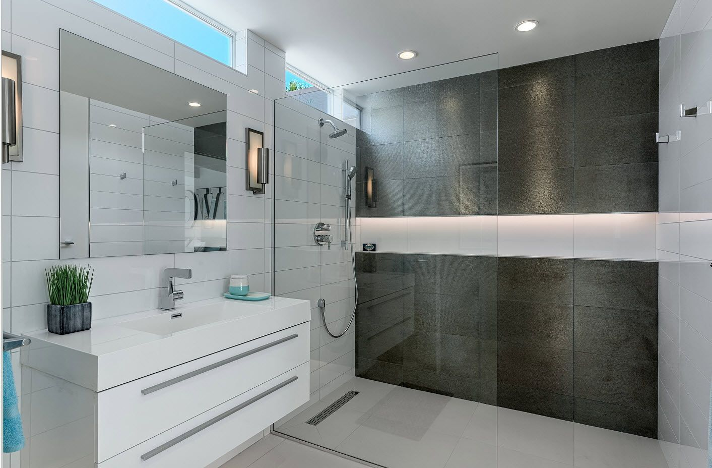 gray and white color combination for really successful dominating hi-tech interior