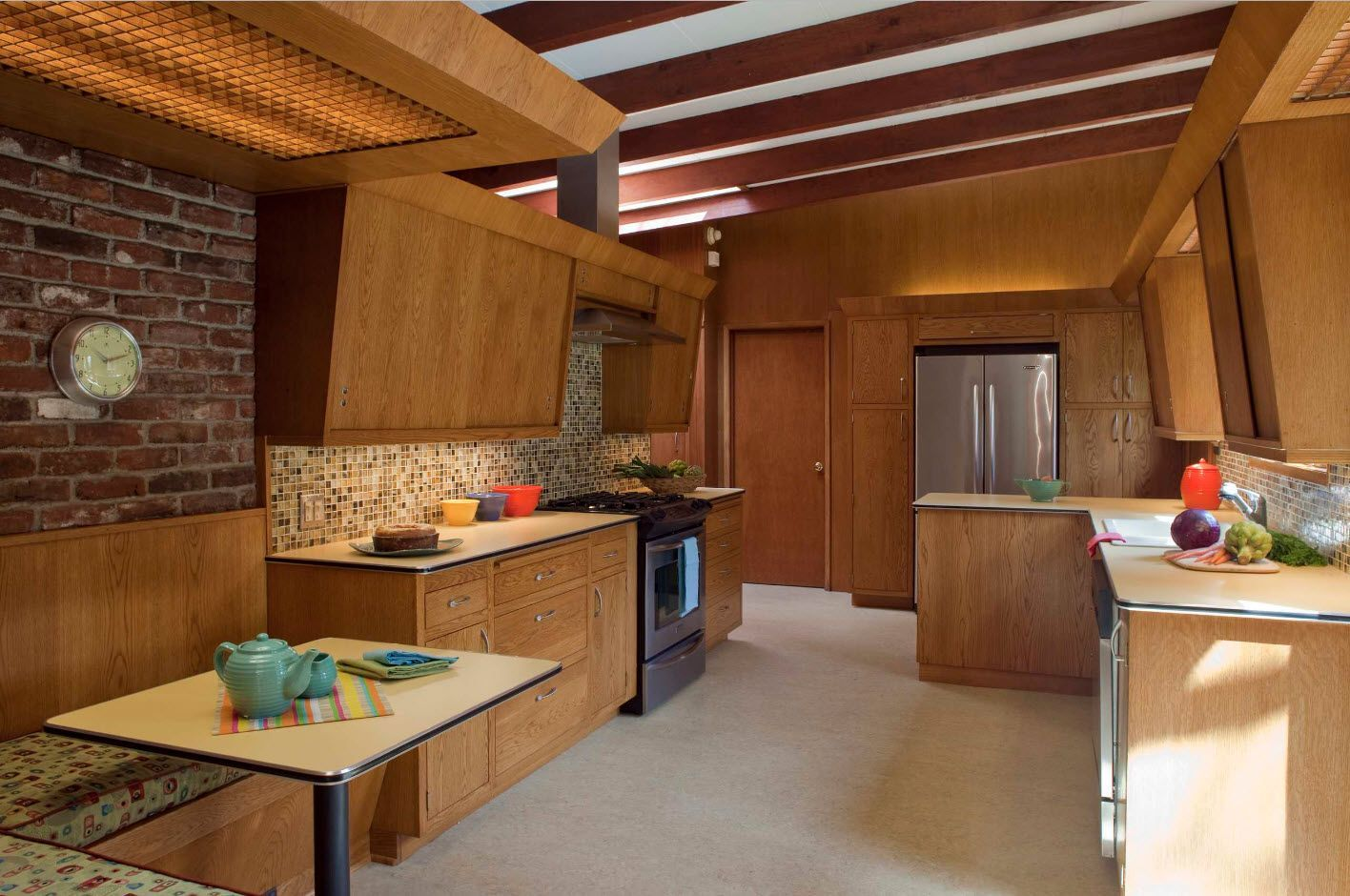 Totally wooden cozy rustic kitchen design 2017