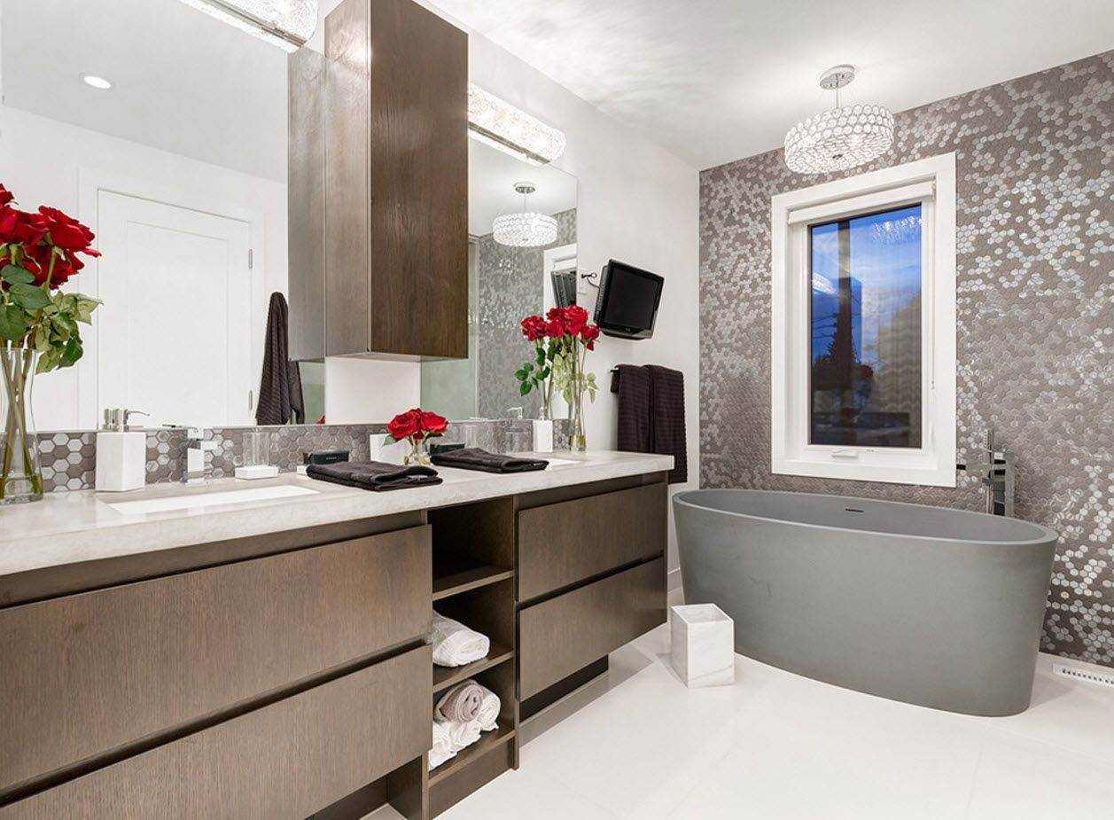 Futuristic desig of the bathroom with wooden coated extractor hood and complex of vanities and open storage system