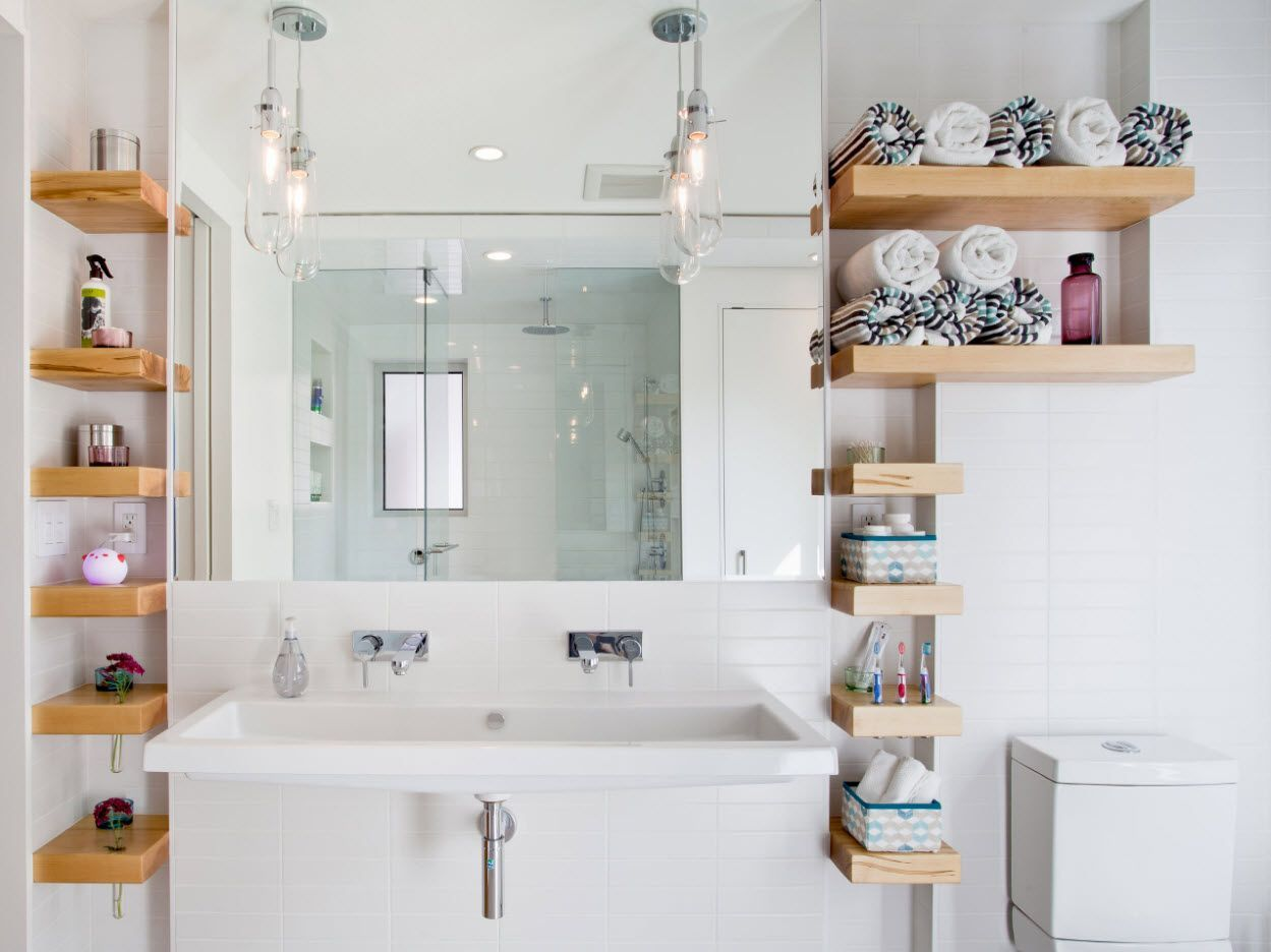 open storage systems for white small bathroom