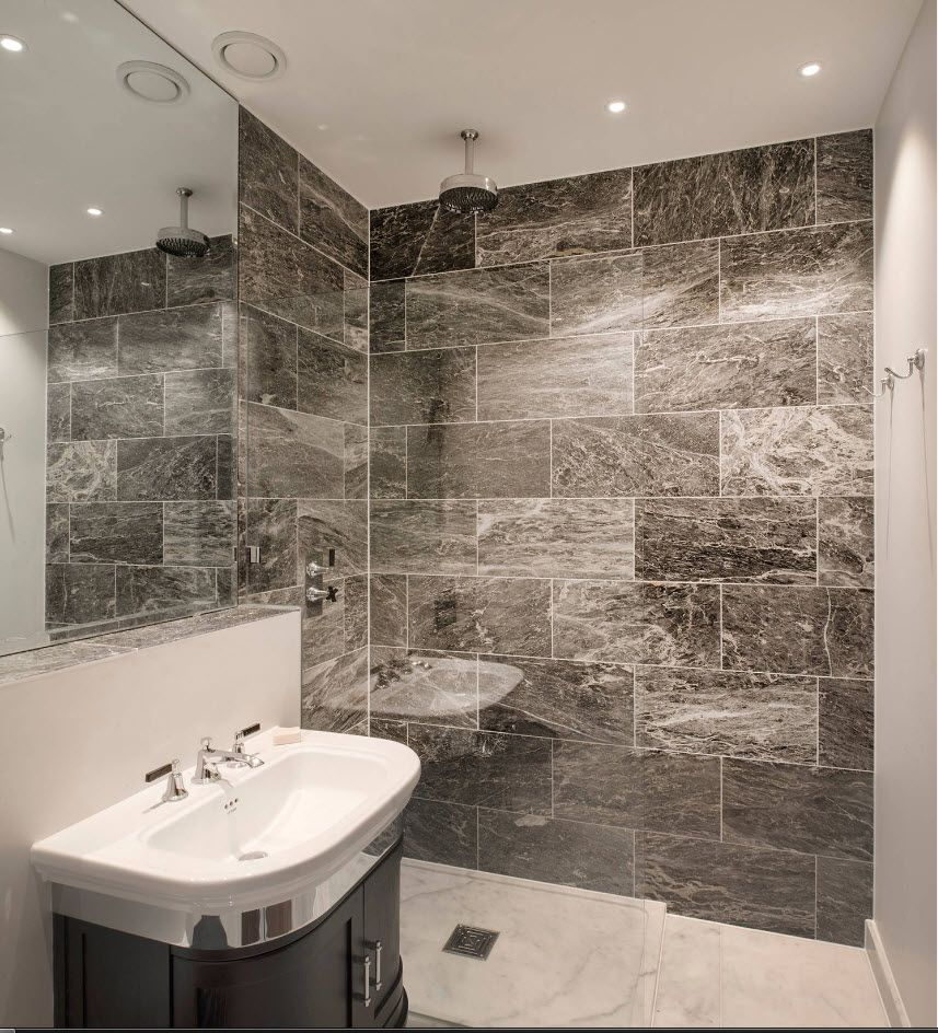 Gray marble tiling for shower zone