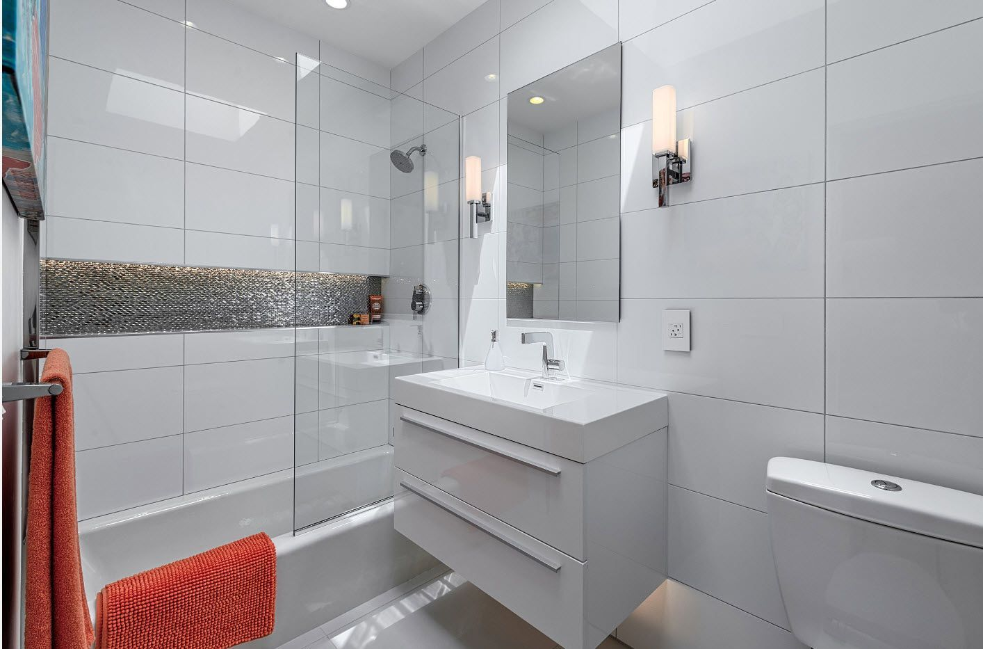 Suspended vanity and glass screen for shower
