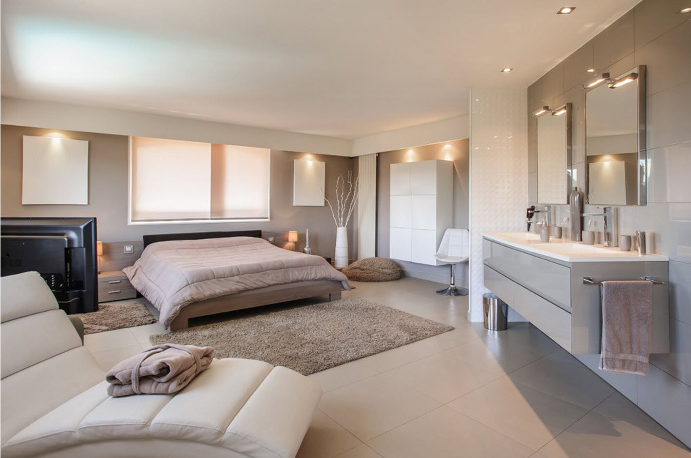 Large private house bedroom in pastel color gamma