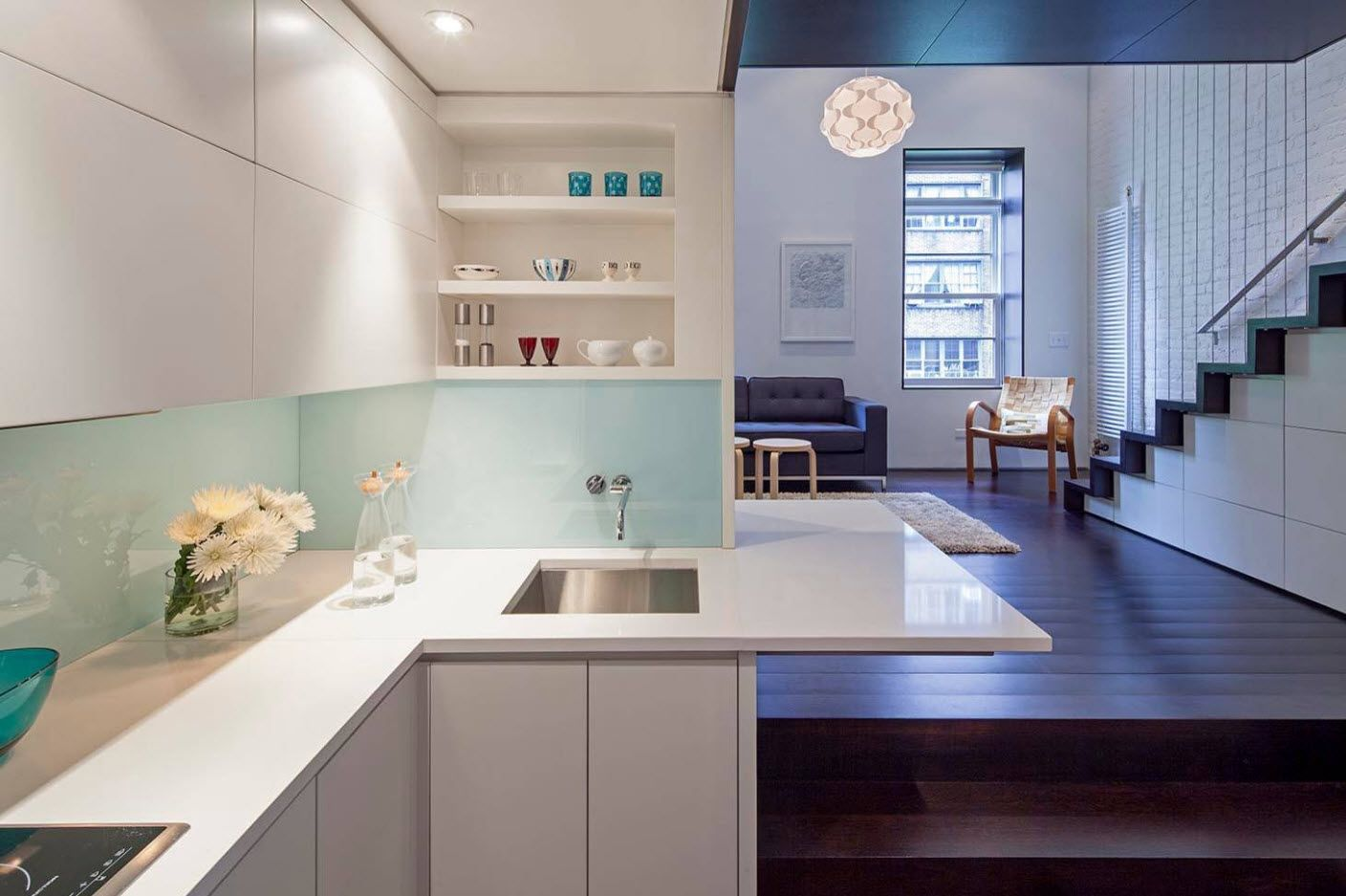 Nice top lighting to the kitchen white plastic glance facades