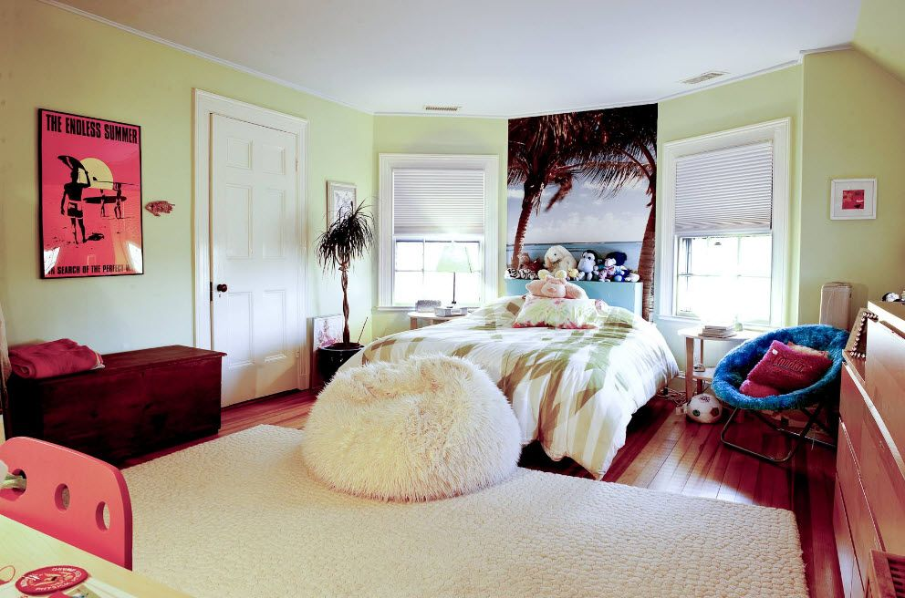Slender bedroom interior with bean bag pillow in the bed