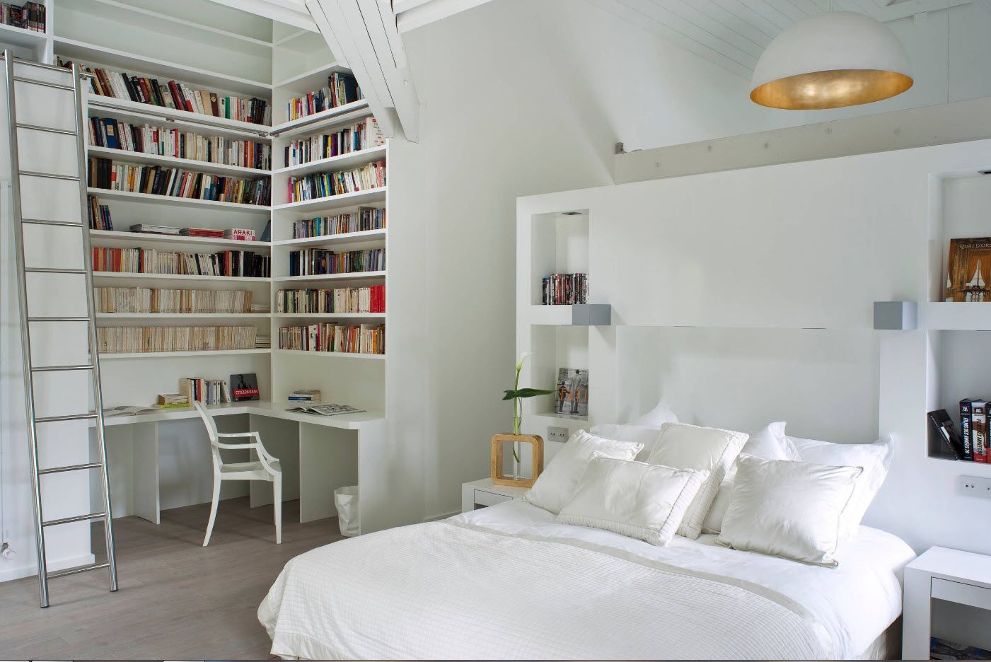 White library-bedroom interior Scandinavian style