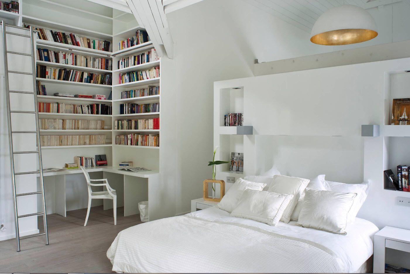 White library-bedroom interior Scandinavian style