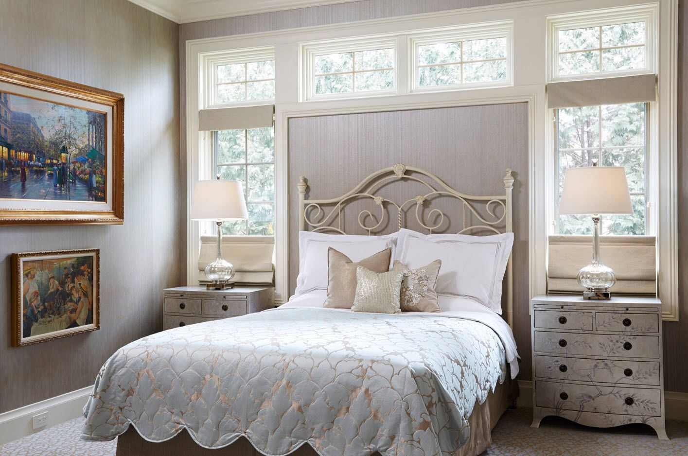 Classic gray setting of the bed