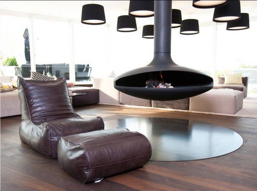 Black fireplace of complicated form