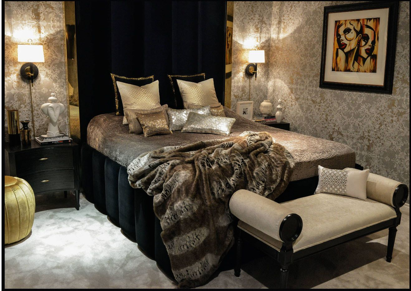Modern Bedroom Interior Decoration & Design Ideas 2017. Noir style with Classic touch
