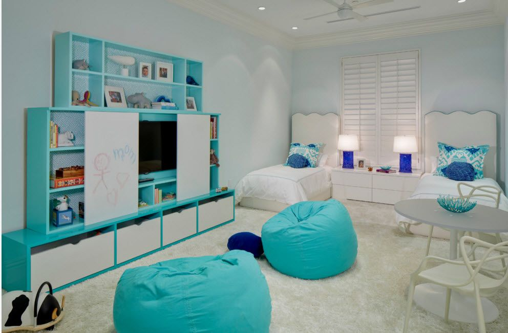 Turquoise tonal elements and bean bars in the children's