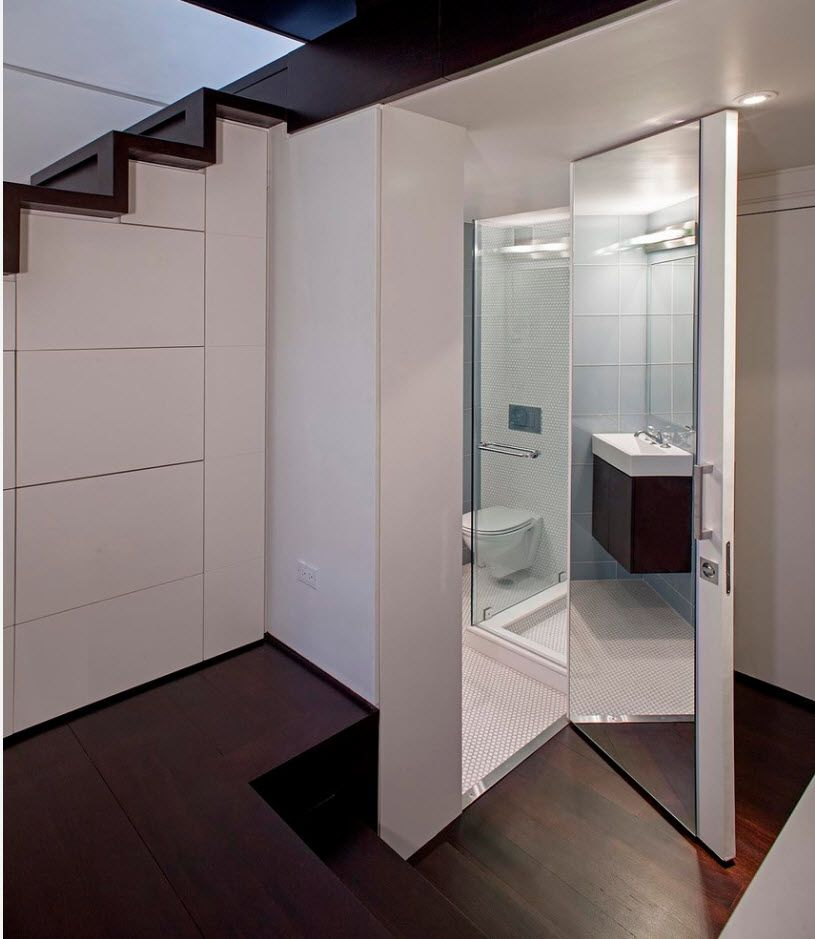 Apartment Interior Design Inspiration Ideas & Trends 2017. Glass trimmed bathroom under the stairs