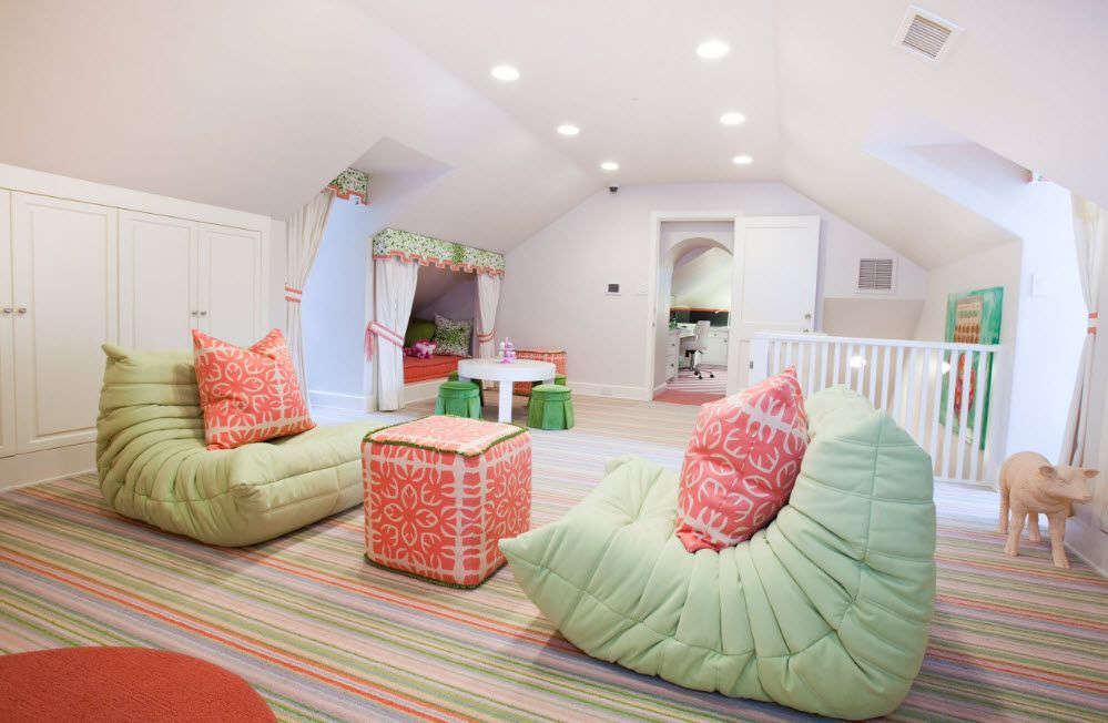 Neat tender colors to decorate the children's room with bean bags