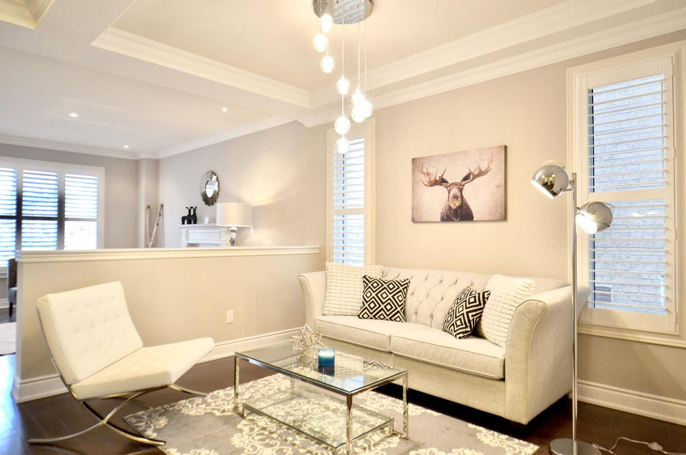 Pastel color designed successfully zoned modern sitting room